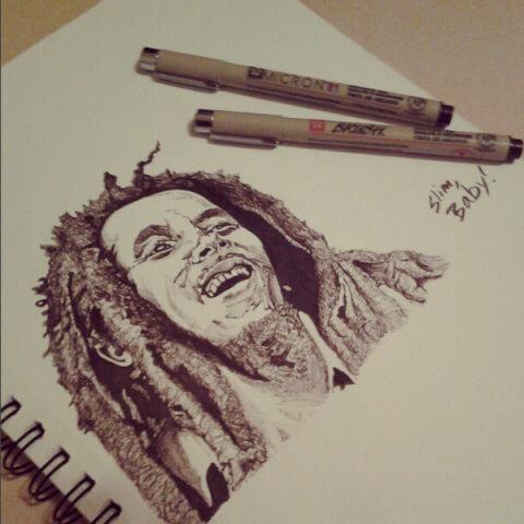 Bob Marley Drawing by Slim The Phenom